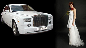 White Phantom Rolls Royce & Bride