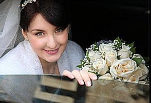 bride in wedding car  limo 1